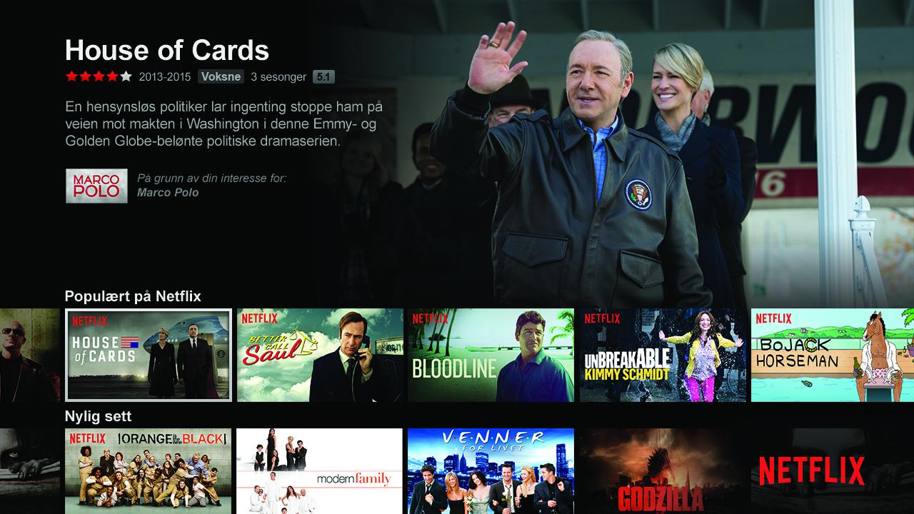 Du kan glemme å se House of Cards via Netflix i frakoblet modus.