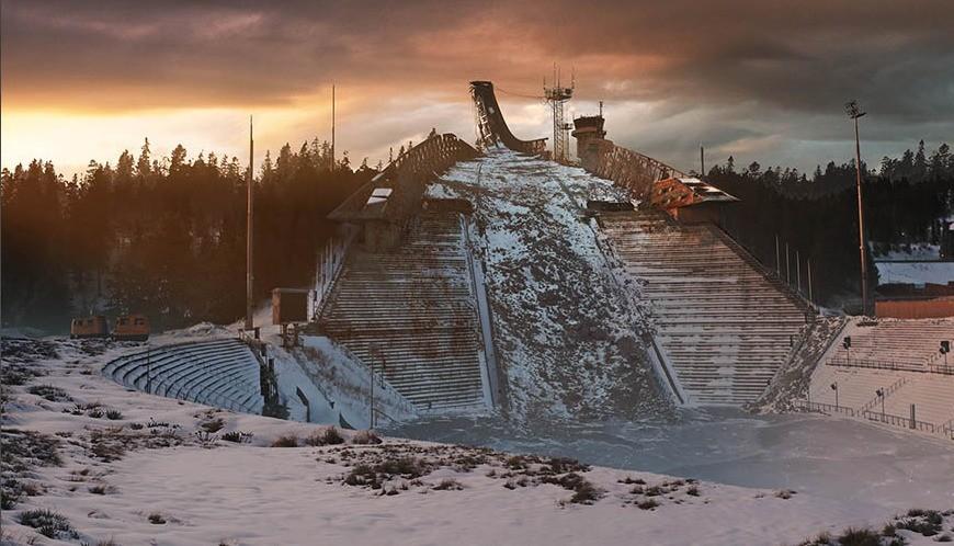 Slik ser Holmenkollen ut i Raserte byer i The Last of Us.