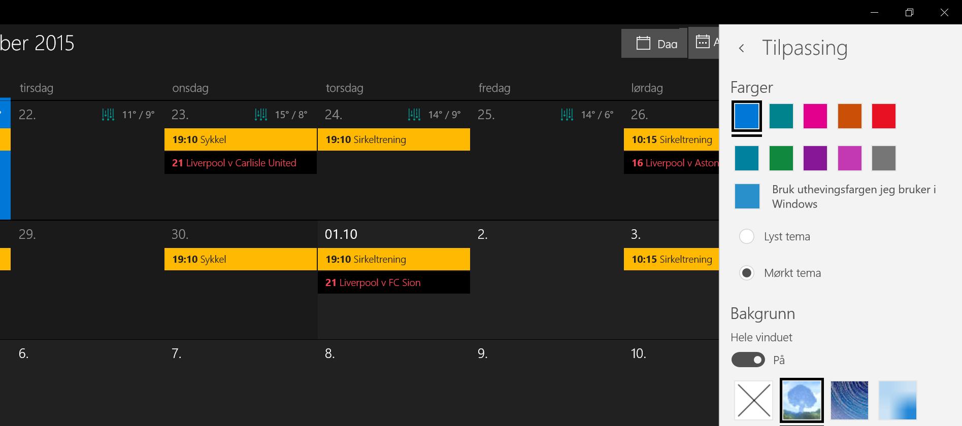 Aktiver mørkt tema i kalender-appen i Windows 10.