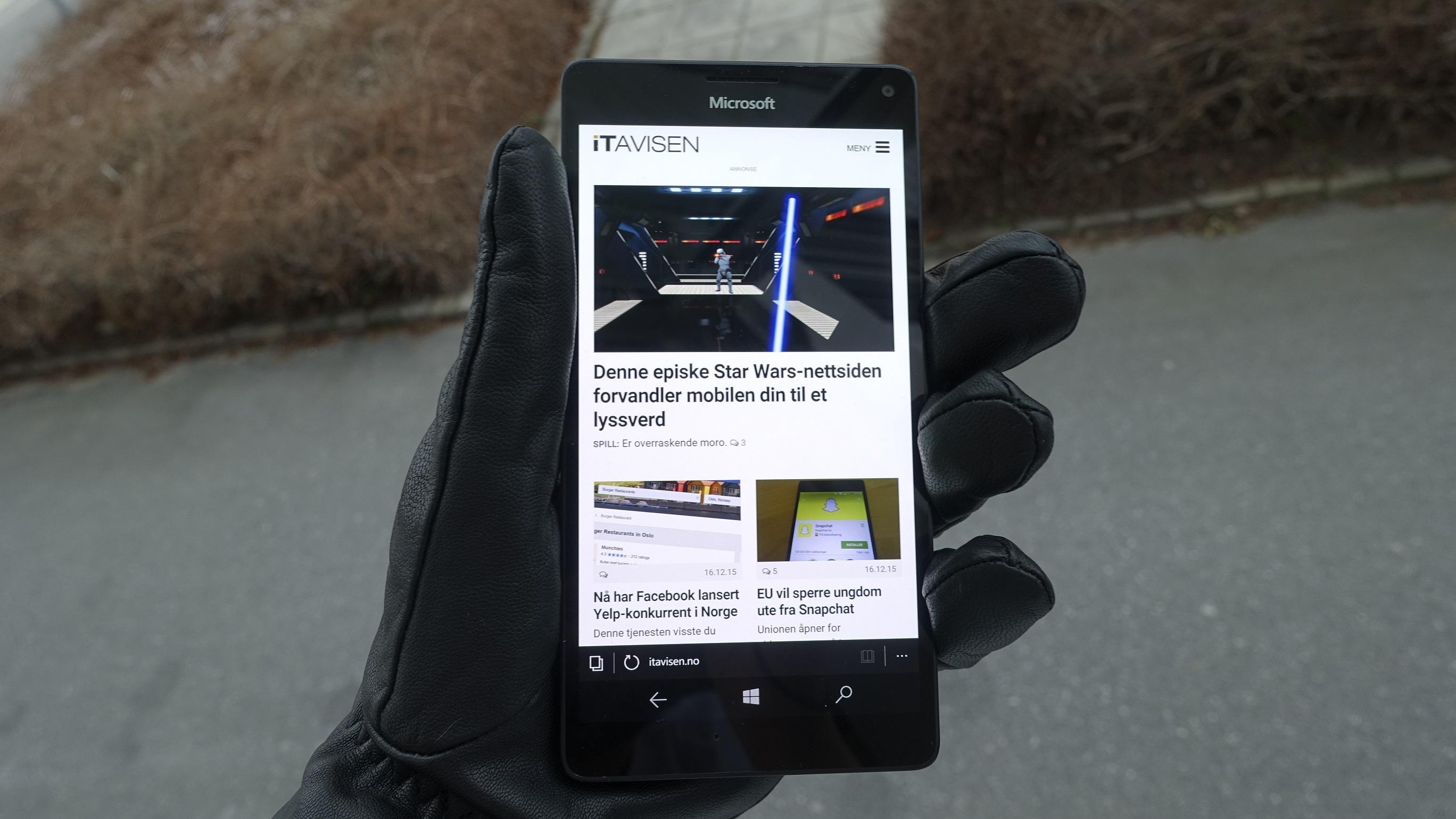 Edge skuffer på Windows 10 Mobile.