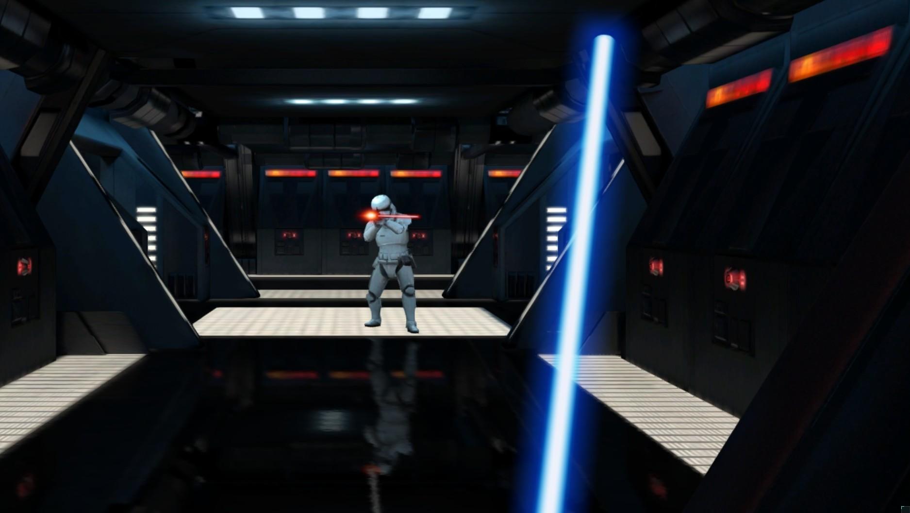 I Lightsaber Escape styrer du lyssverdet med mobilen.