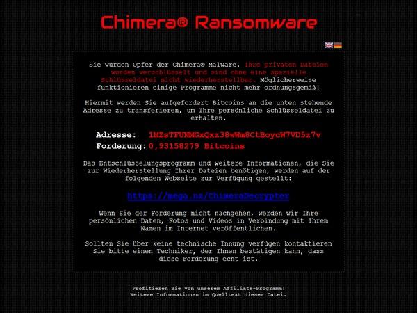 Det er ransomware, også er det Chimera som tar det hele til et nytt nivå.