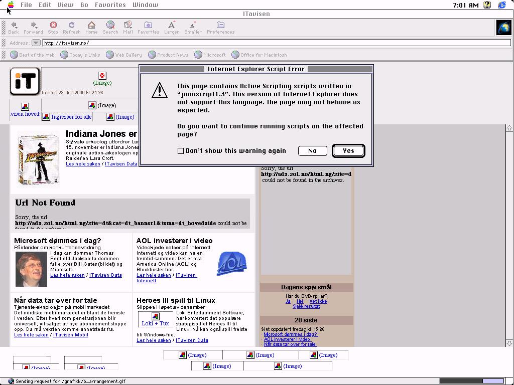 Her kjører Internet Explorer 4.01 på Macintosh. Datoen er 2.12.1999.