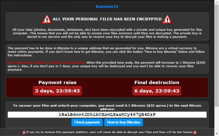 Slik ser en melding fra kidnappingsprogramvaren Ransom32 ut.