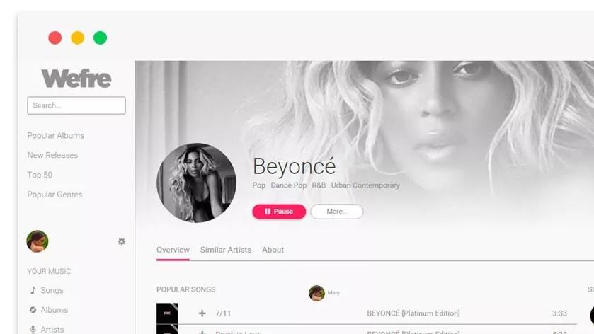 Wefre.com serverer YouTube-musikk på en lekker måte takket være Spotifys utviklerpakke.
