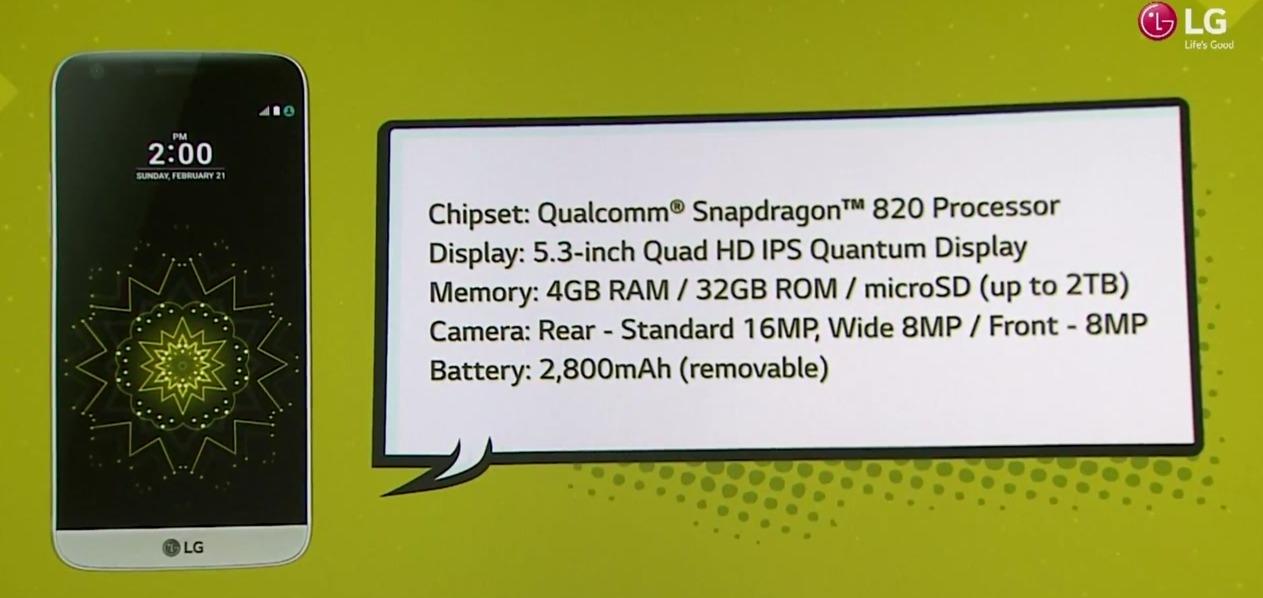 Spesfikasjoner på LG G5