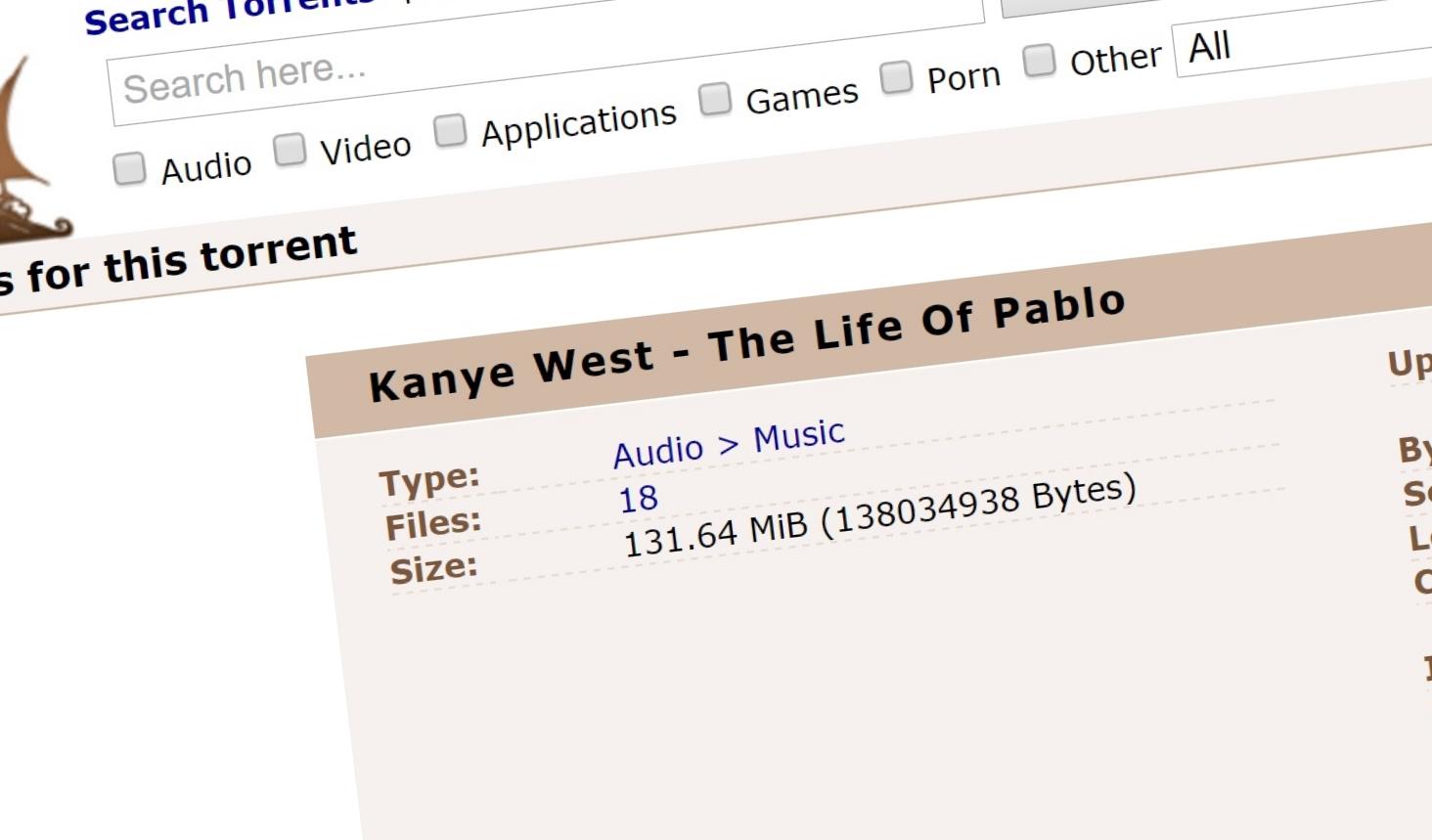 TPB ler av Kanye West sitt mulige søksmål etter at hans nye album er lastet ned over en halv million ganger siden søndag.
