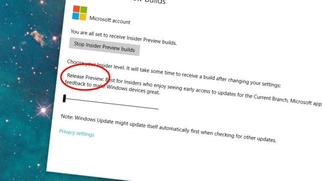 Prøv den nye Release Preview-oppdateringstakten til Windows 10 for å teste nye funksjoner, men beholde kernel-versjon 10586.