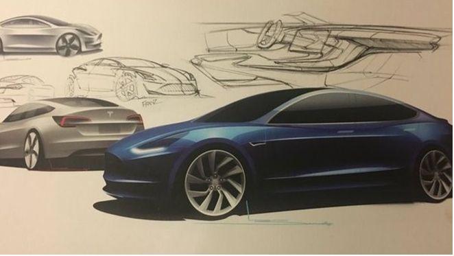En konsepttegning av Tesla Model 3.