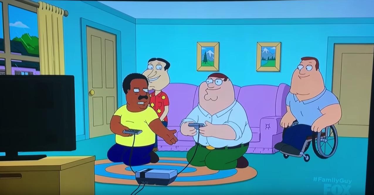 I episoden spiller Peter og Cleveland en runde Double Dribble på NES.