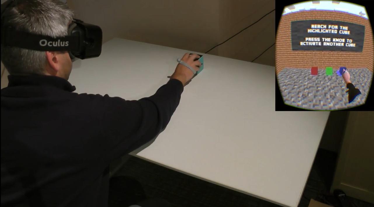 Spilleren ser tre esker i den virtuelle verdenen. Egentlig samhandler han kun med én.