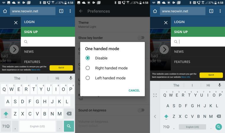 Nå kan du velge enhåndsmodus i Google Keyboard.