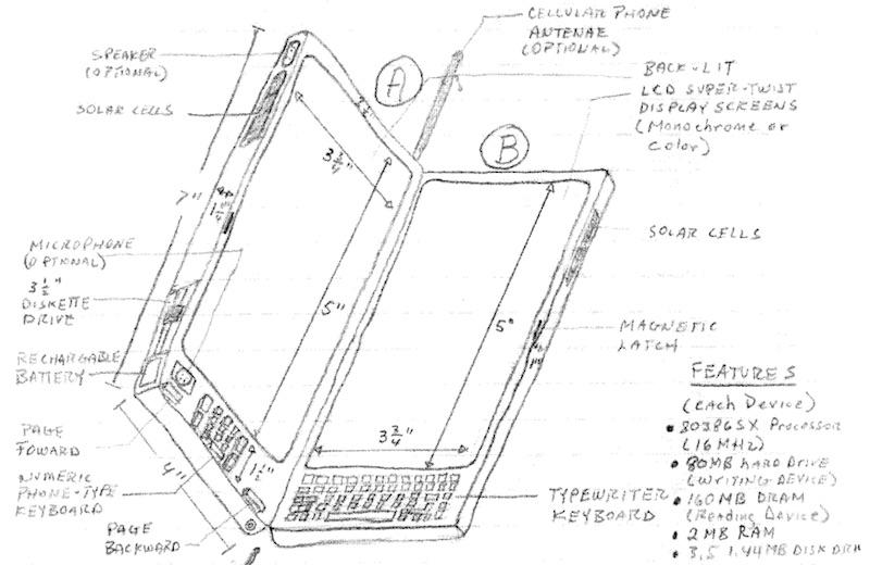 Thomas S. Ross saksøkte Apple denne uken. Han mener nemlig han kom smartmobil-revolusjonen i forkjøpet med denne tegningen helt tilbake i 1992.