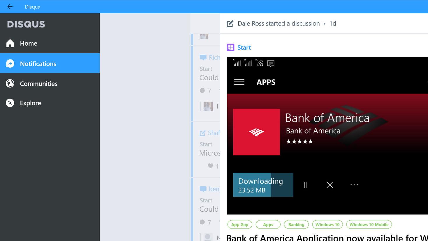 Dette er Disqus sin Windows 10-app.