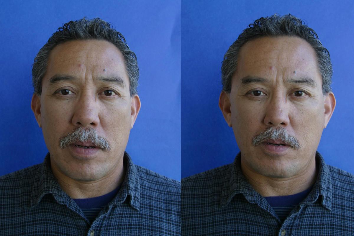 Til venstre: originalbilde. Til høyre: Manipulert i RePose.