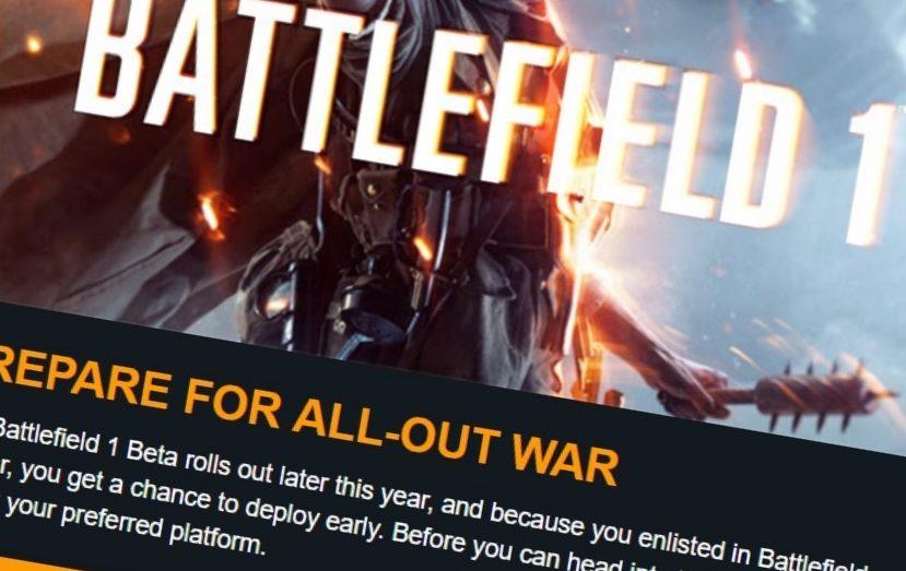 EA girer opp til semi-allmenn beta-test av Battlefield 1.