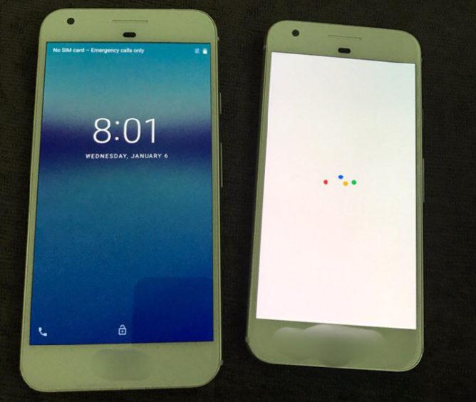 Dette skal være bilder av Google Pixel og Pixel XL.
