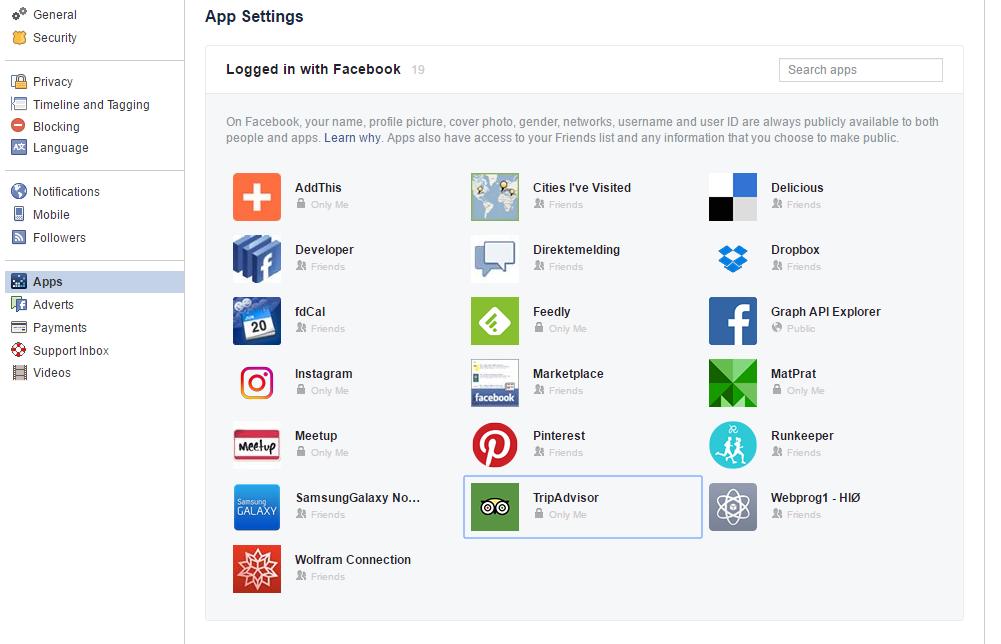 Facebooks tilgangskontroll.