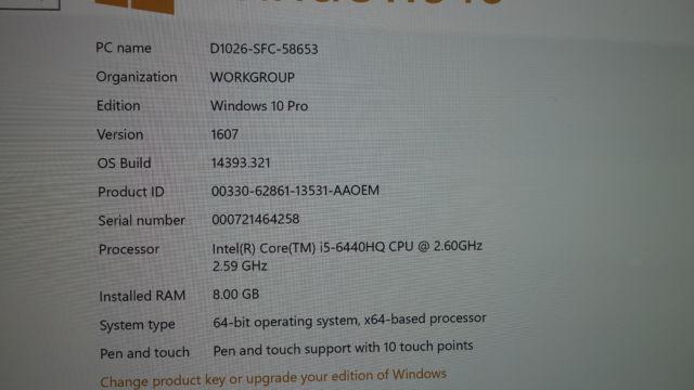 Spesifikasjonene til demo-maskinen.