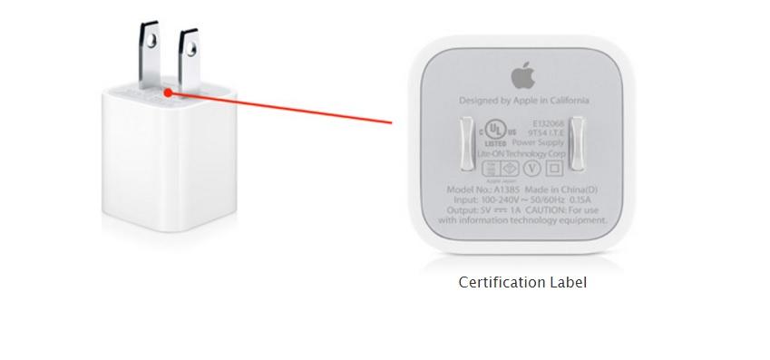 Apple er rasende på et selskap som selger ladedprodukter som ikke er godkjente, men som hevder de er netttopp det. Slik ser Apples ekte iPhone-lader ut.