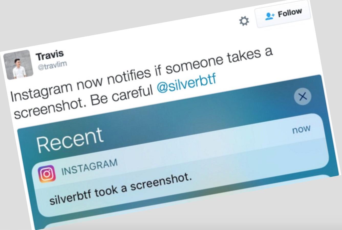 Instagram-brukere varsles når en annen bruker tar skjermdump.