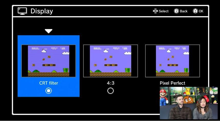 Nintendo viser frem de ulike skjermvalgene.