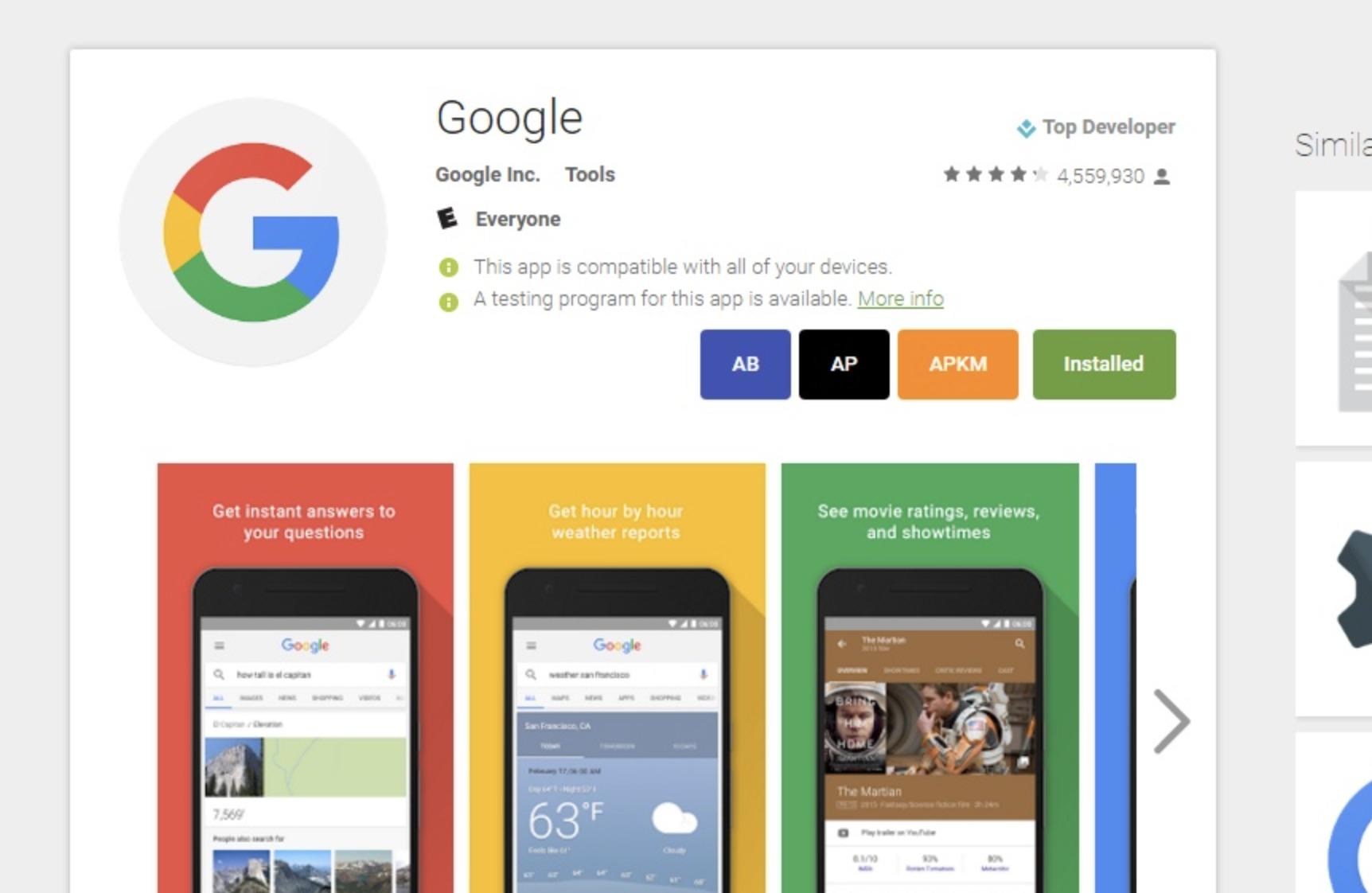 Toolbox for Google Play Store gir direktenedlasting av .apk-filer og gir deg kjapp mulighet til å bli med i beta-test-programmet til apper.