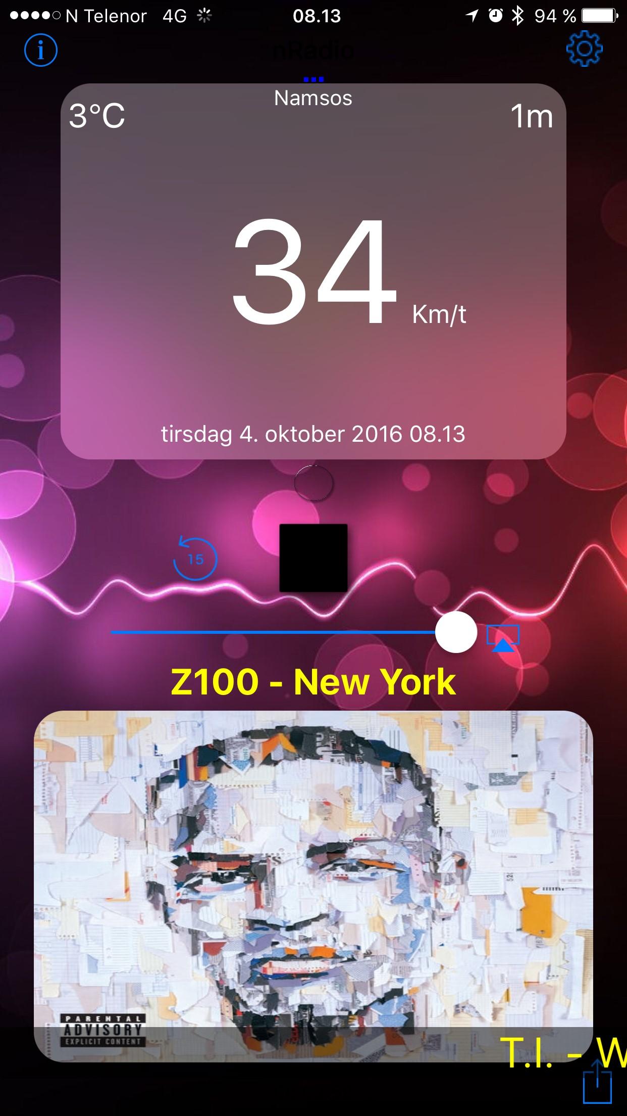 Appen slik den ser ut i dag med speedometer.