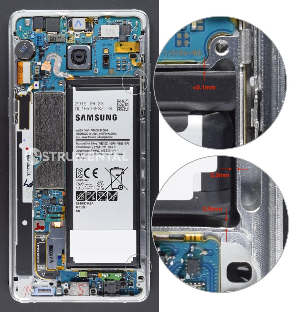 Bilder avslører at det ikke er nok plass til batteriet i Note 7.