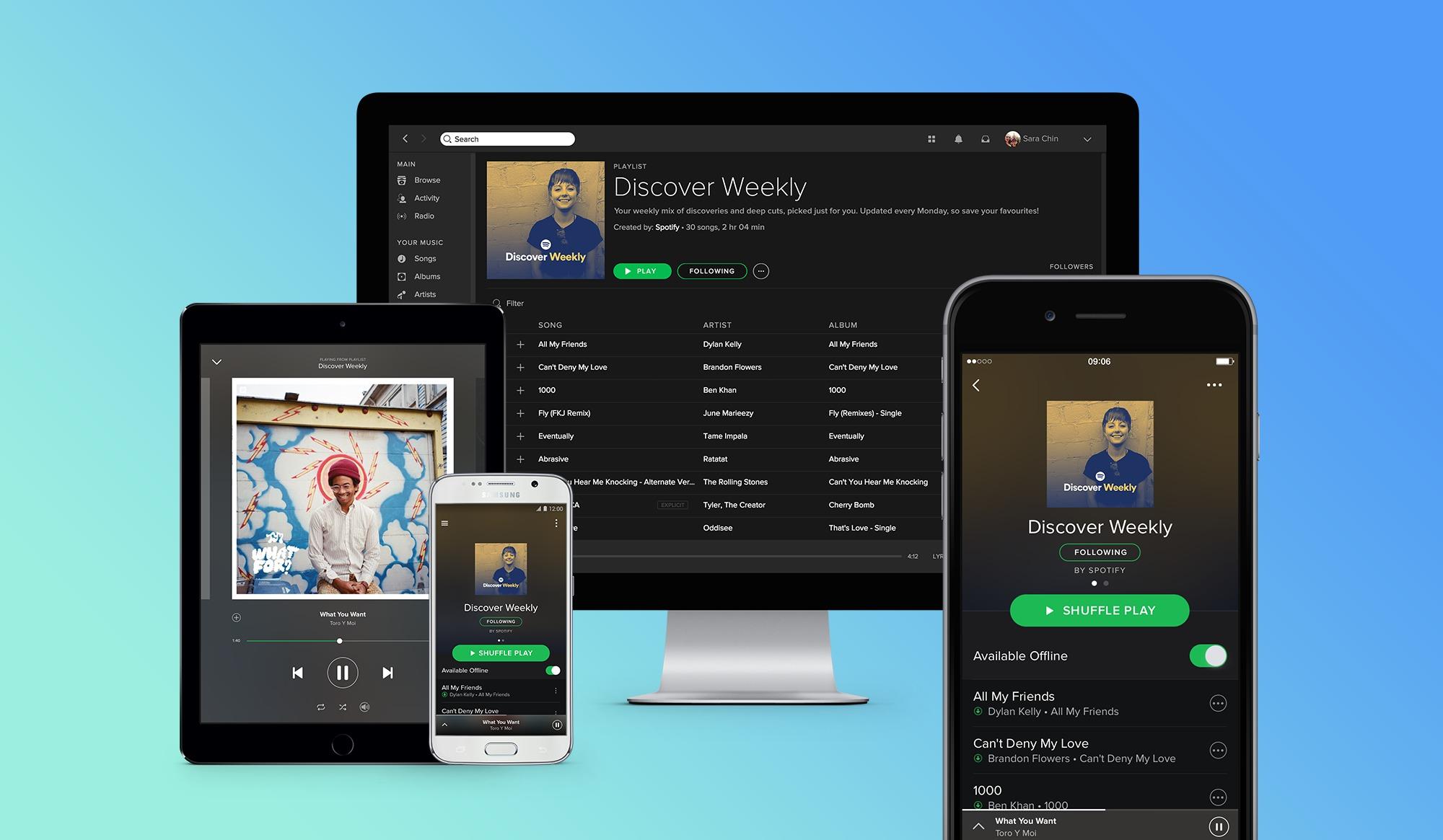 Spotify jobber med nye designendringer for appen.