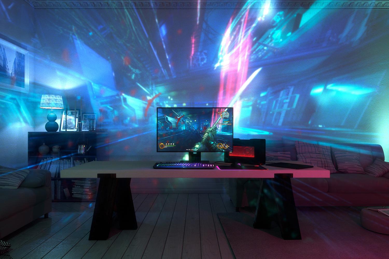 Project Ariana projiserer lys- og videoeffekter til veggen.