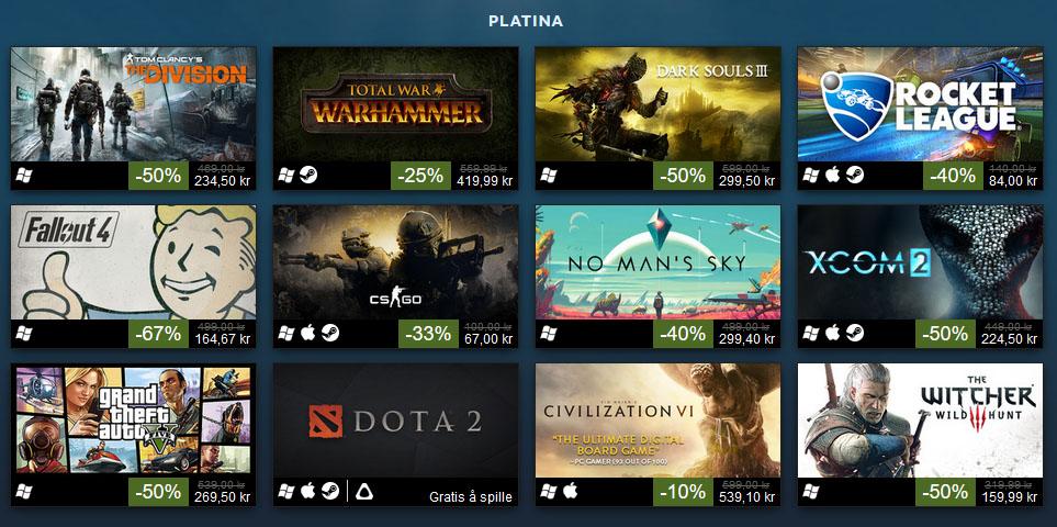Steam deler topplisten for 2016 inn i katoegorier - her kan du se Platina-kategorien.