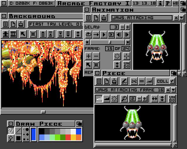 Skjermbilde av de grunnleggende grafiske funksjonene i Arcade Factory.