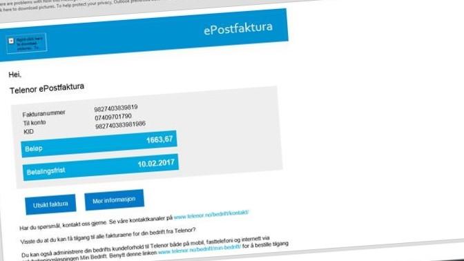 Telenor ber brukerne om å slette denne e-posten og rapportere den som søppelpost.