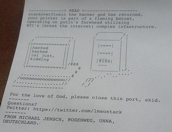 Budskapet som ble skrevet ut inkluderte en sikkerhetsmelding, et ASCII-bilde og hackerens twitter-konto.