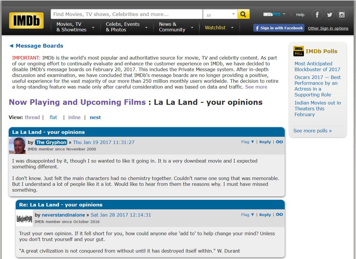 IMDB stenger forumene sine, og sier det er flere som diskuterer filmene de lister opp på sosiale medier.