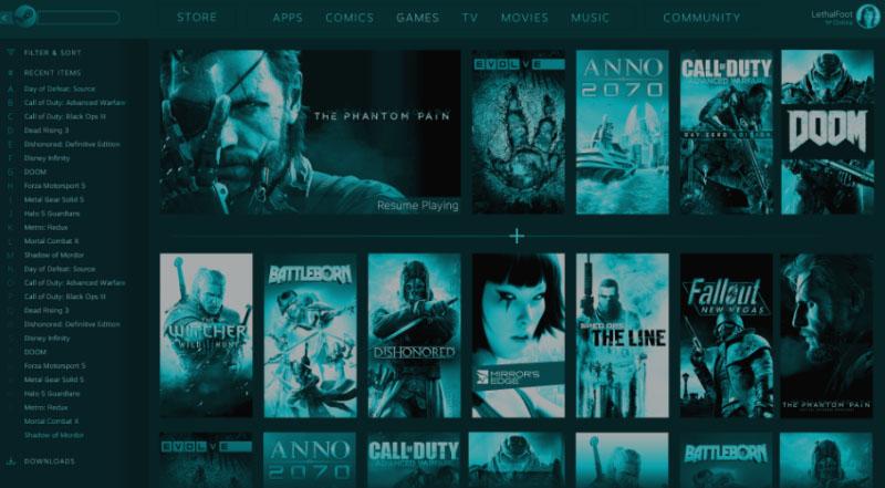 Slik kan Steam-biblioteket se ut i følge lekkede bilder i en beta av Steam-klienten. Merk kategoriene på toppen av bildet.