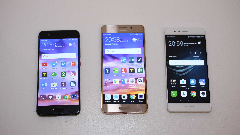 Fra venstre: P10, Mate 9 Pro og P9.