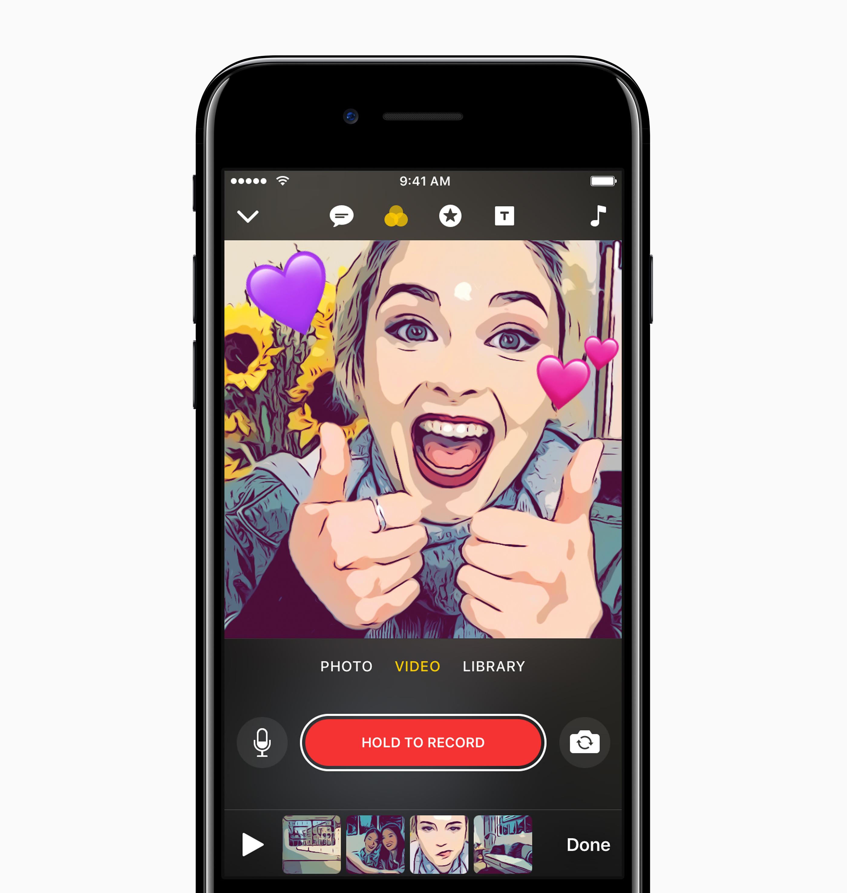 Clips lar brukerne legge artige effekter på bildene og videoene sine.