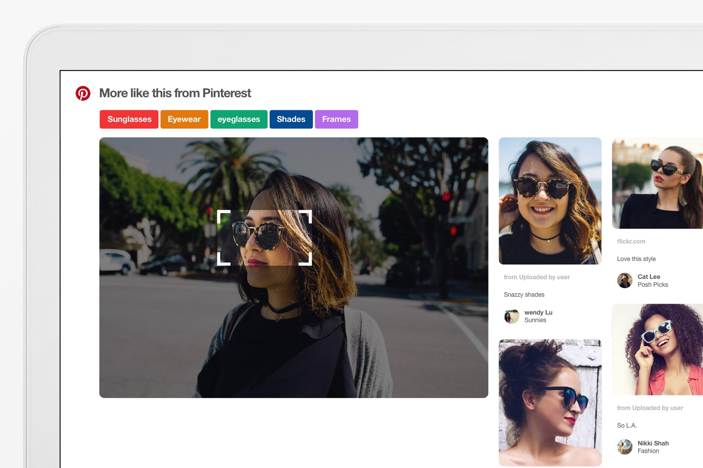 Med Pinterests nye bildesøk kan du zoome inn i bildet for å finne bilder av lignende ting, som for eksempel et par solbriller.