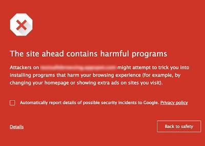 Denne tydelige meldingen varsler brukeren om at det er fare på ferde.