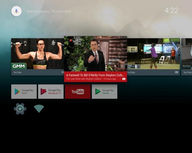 Her er Android TV Nougat oppe og går på en Raspberry Pi 3.
