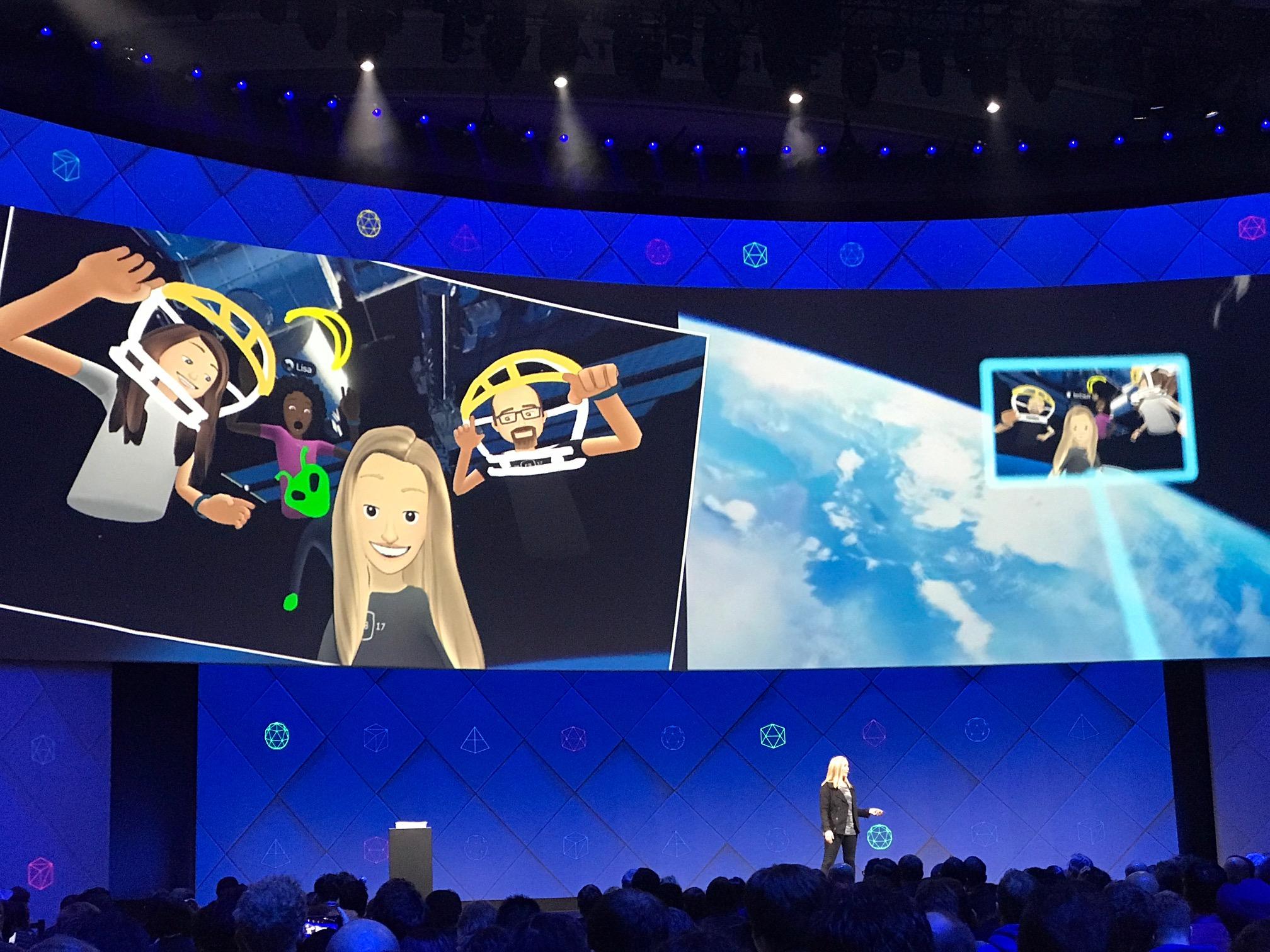 Slik ser Facebook Spaces ut i rommet - selfie-stikka er selvsagt på plass.