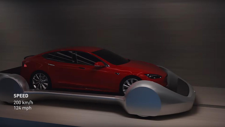Bilene i Elon Musk sit tunnelsystem skal kjøre på skinnefarkoster i 200 kilometer i timen.