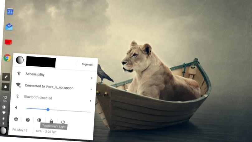 Via denne menyen kan du aktivere nattmodus i Chrome OS.