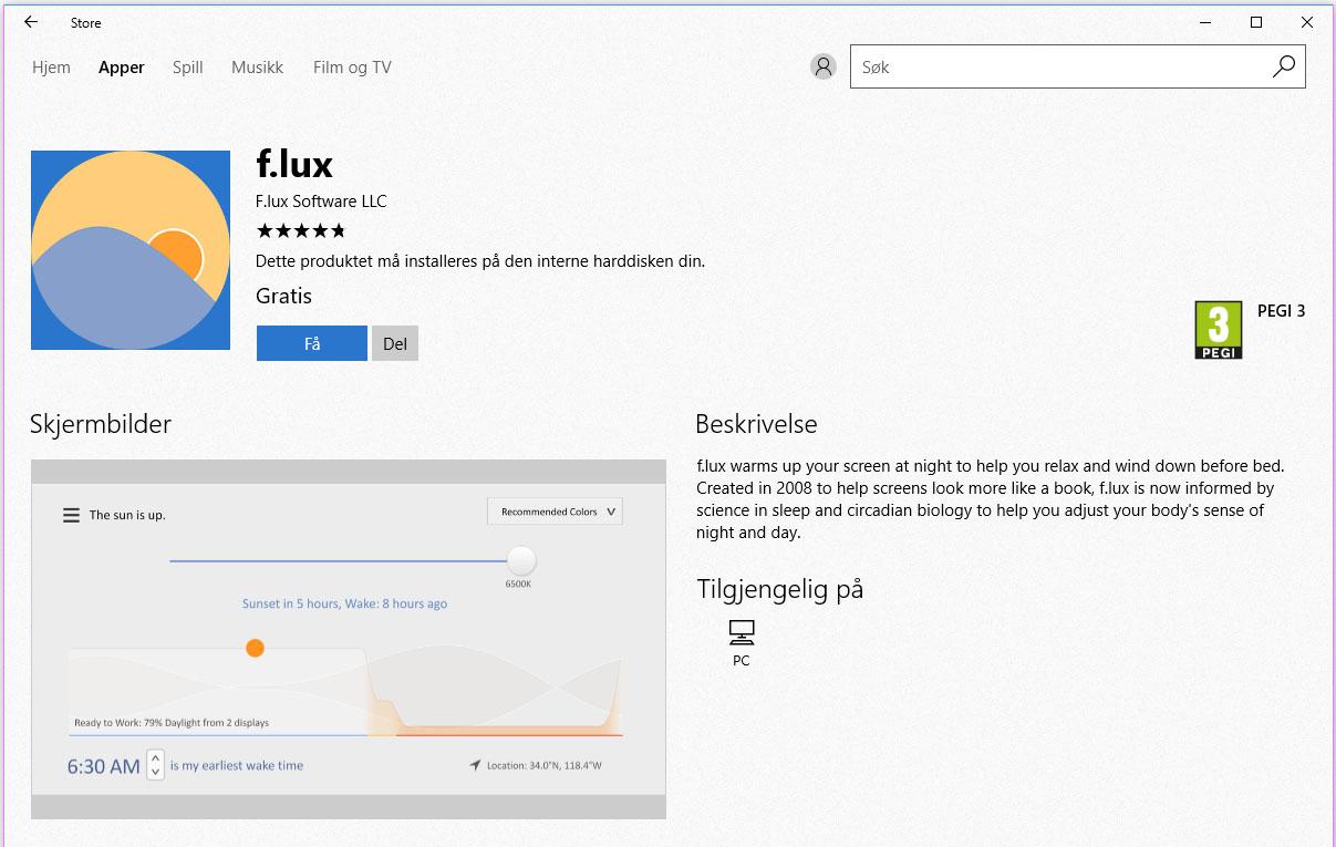 F. lux lar deg velge vekke enkeltprogrammer som du ikke var fordreie fargene i - som for eksempel Netflix.