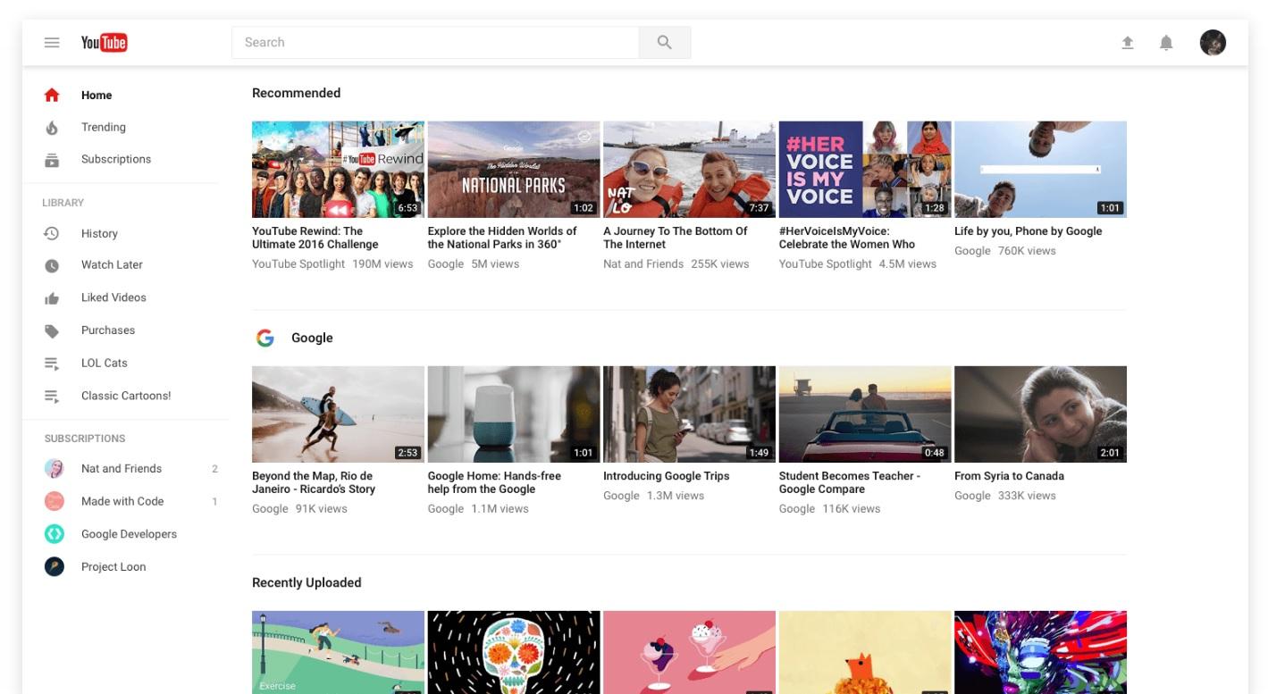 Slik ser nye YouTube ut uten nattmodus.