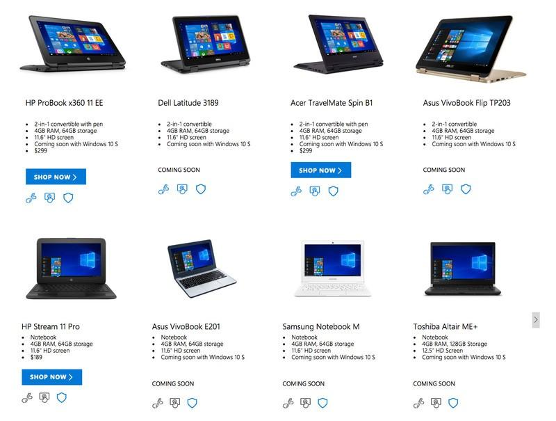 Microsoft Store har allerede mange maskiner til Windows 10 S klare.