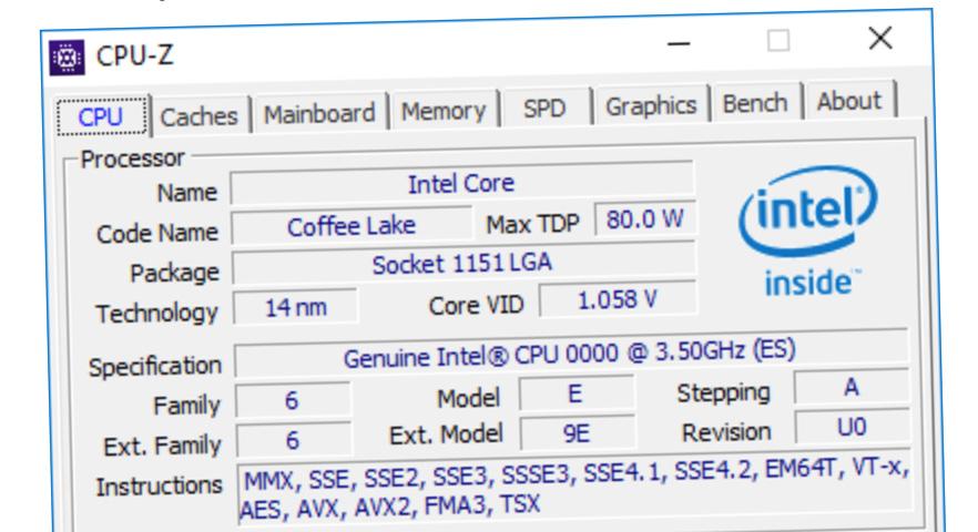 Dette CPU-Z-skjermbildet bekrefter at Coffee Lake får seks prosessorkjerner og 12 tråder.