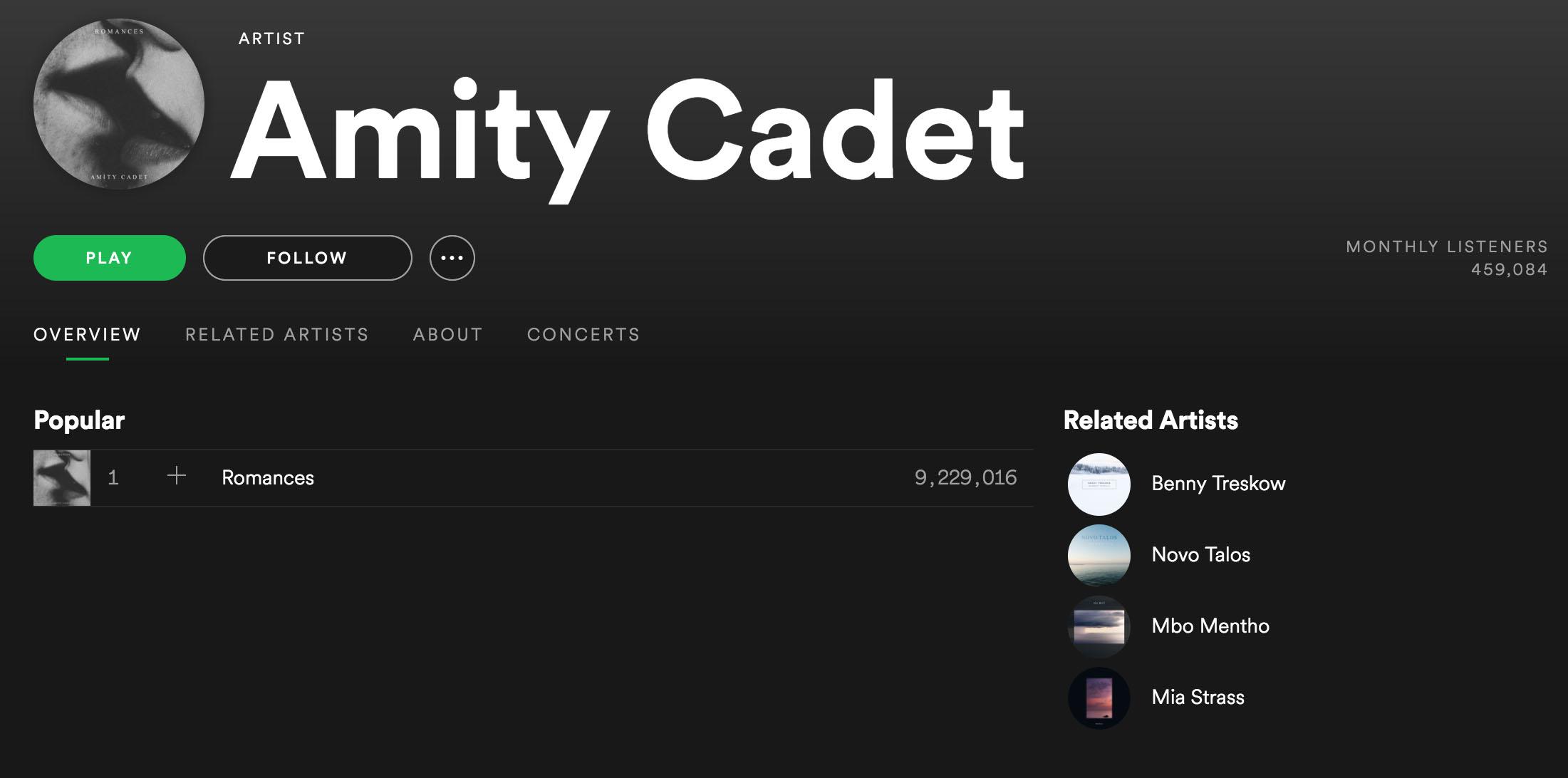 Amity Cadet er et eksempel på en artist som har over ni millioner avspillinger på Spotify, mens som nesten ikke finnes andre steder.